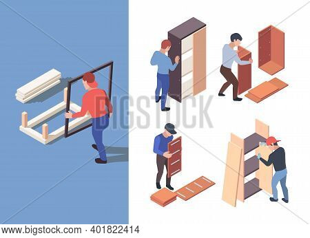 Furniture Assembly. People Crafting Wooden Furnitures With Instructions Garish Vector Isometric Char