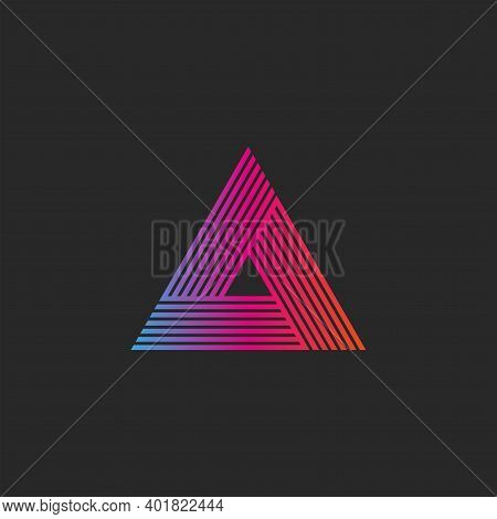 Triangle Logo Gradient Abstract Linear Infinite Geometric Shape, Intersection Thin Lines Hipster Mon