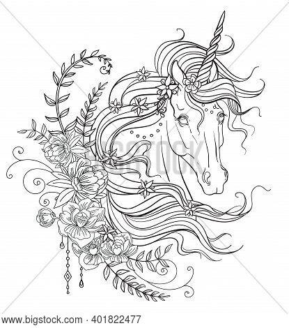 Graceful Unicorn Coloring Book Vector Illustration Black