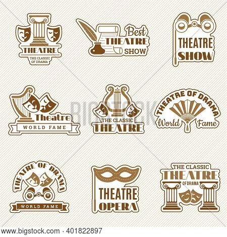 Theatre Logo. Cinema Entertainment Show Elements Theatre Badges Drama And Comedy Mask Recent Vector