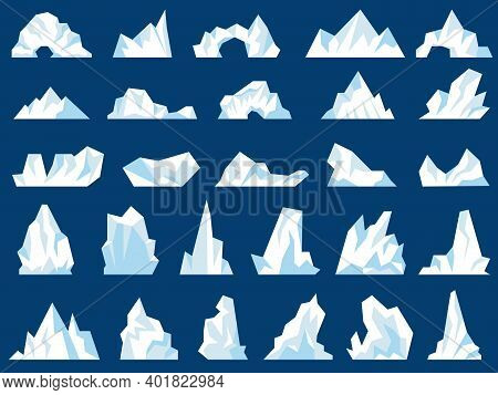 Iceberg Illustrations. Crystal Freezing Mountains Snow Hills In Ocean North Pole Antarctic Frost Rec