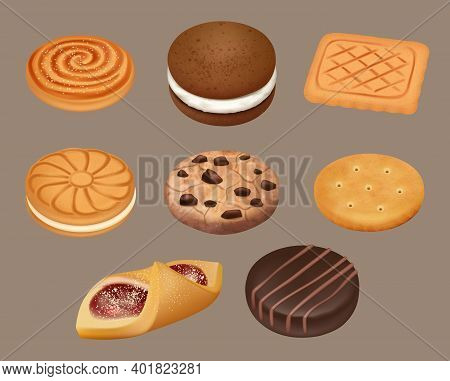 Cookies. Realistic Delicious Sugar Cookies Decent Vector Illustrations. Snack Dessert, Chocolate Tas