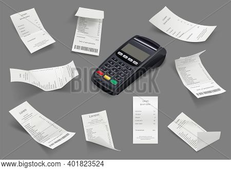 Bills Receipt Templates. Realistic Billing Financial Papers Customers Store Invoice Decent Vector Il