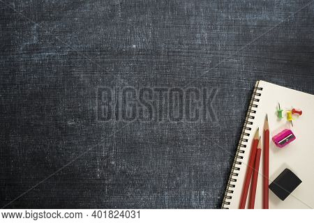 School Supplies, Black Board Background. Back To School Concept. Education Background Concept With C