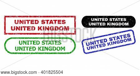 United States United Kingdom Grunge Stamps. Flat Vector Grunge Watermarks With United States United