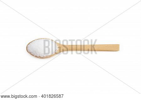 White Sugar Placed In A Wooden Spoon, Food Concept.  Backdrop Isolated On White Background.