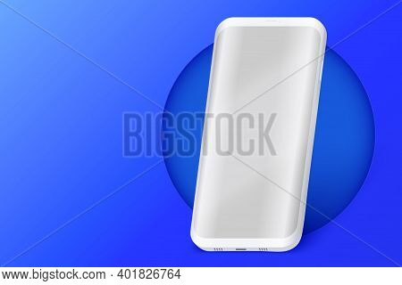 Smartphone Layout Presentation Mockup On Blue Color. Example Frameless Model Mobile Phone With Touch