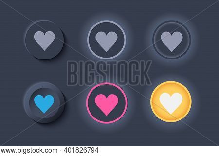 Neumorph Ui Like Buttons Dark Set. Buttons With Heart For Favorites And Likes. Workflow Graphic Elem
