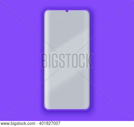 Smartphone Layout Presentation Mockup In Violet Color. Example Frameless Model Smartphone With Touch
