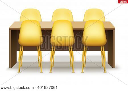Large Dinner Table With Chairs. Big Wooden Table For Family Meal And Brunch. Wood Table Without Tabl