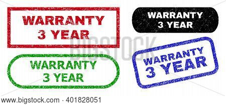 Warranty 3 Year Grunge Seals. Flat Vector Grunge Watermarks With Warranty 3 Year Phrase Inside Diffe