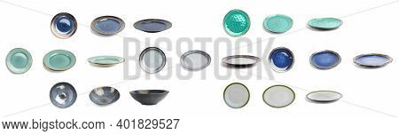 A Variety Of Multi-colored Plates Of Different Sizes, Colors And Shapes On A White Background Right