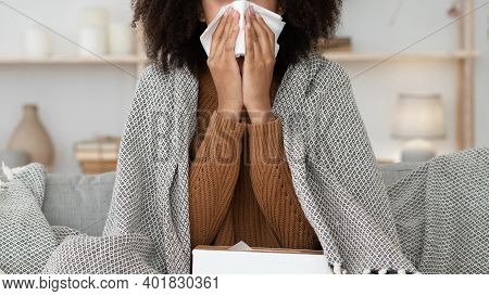 Sick Woman Cough, Sneeze, Blowing Nose, Suffer From Fever. Ill Weak Young African American Lady Feel