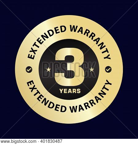 Three Year Extended Warranty Stamp Illustration, Golden Color   Vector Icon, Design Element , 3 Year