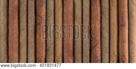Cuban Cigars Variety Background, Texture. Closeup, Top View