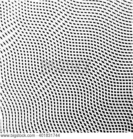 Light Grid Monochrome Texture From Wavy Cross Lines. Wavy Reticulated Effect Texture For Web, Mobile
