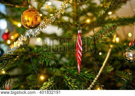 Colorful Christmas Decorations In A Christmas Tree
