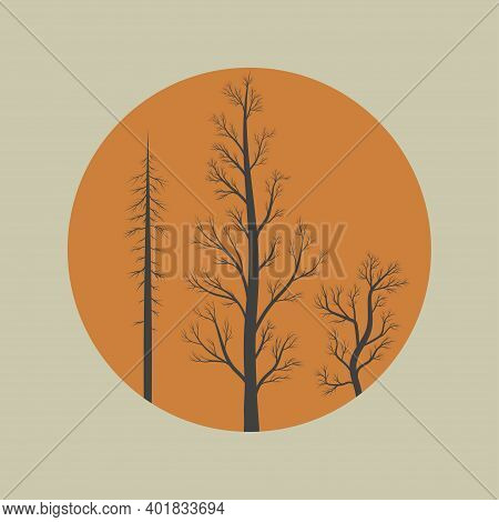 Burnt Trees Icon - Spruce, Poplar, Willow. Template Design For T-shirt, Fabric, Wrapping Paper. Vect