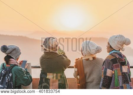 Lamphun Thailand - December 9 :  Unidentified Tourists Taking Pictures And Selfies While The Sunrise