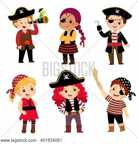 Vector Illustration Cartoon Set Of Cute Kids Dressed In Pirate Costumes.