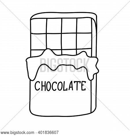 Chocolate Bar Half Wrapped In Foil, Rectangular Molded Chocolate With Lettering, Hand Drawn Doodle V