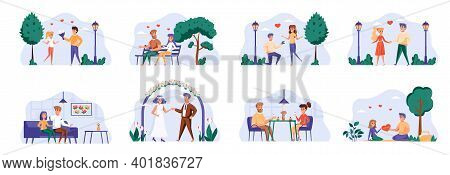 Love Couple Bundle With People Characters. Happy Valentines Day In Park, Date In Caffe, Man Proposin