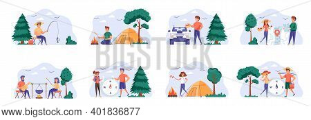 Camping Scenes Bundle With People Characters. Mushroom Hunting, Traveling With Camping Tent, Play Gu