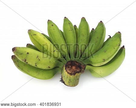 Bunch Of Mini Bananas Or Baby Bananas, Bio, Small And Extra Sweet. With Deep Flavor And Compact Isol