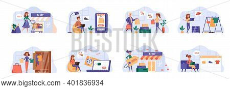 Shopping Scenes Bundle With People Characters. People Buy Clothes, Shoes And Accessories, Online Ord