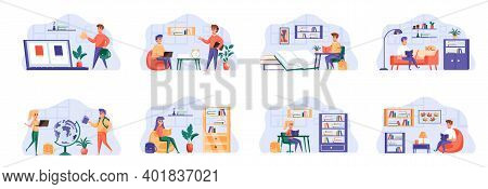 Education Scenes Bundle With People Characters. Distance Learning And Self Education, Students Study