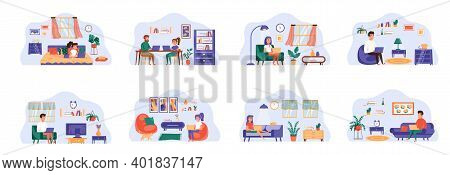Freelance Bundle Of Scenes With Flat People Characters. Freelancer Working With Laptop At Home Conce