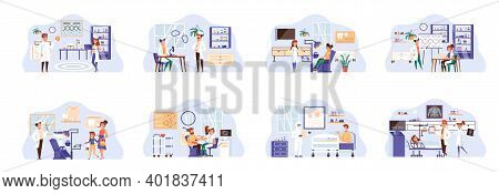 Medical Care Bundle Of Scenes With People Characters. Laboratory Research, Diagnosis And Treatment I