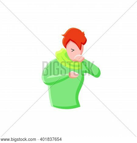 Cough Flat Icon. Character Having A Bad Cough. Common Cold. Flu Infection And Influenza. Health Prob