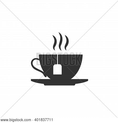 The Teacup Icon Silhouette. Cup Of Hot Tea Isolated On White Background. Vector Stock