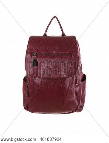 Fashionable Red Female Leather Backpack Isolated On White Background.