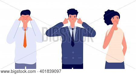 Three Wise Characters. Ignore Or Avoid, Business People See No Evil Hear No Evil And Speak No Evil.