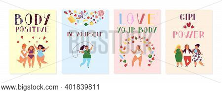 Female Positive Cards. Positivity Posters, Women Power And Body Beauty. Happy Plus Size Fitness Girl