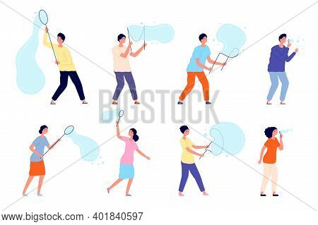 People Blowing Bubbles. Soap Bubble, Cute Adorable Characters Playing. Isolated Person On Party, Car