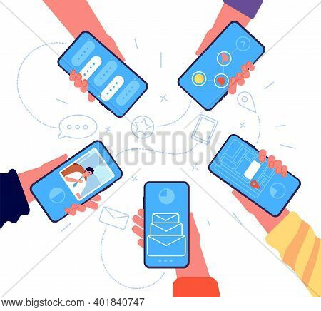 People Group With Phone. Hands Holding Smartphones, Online Team Communication. Girl Sharing Informat
