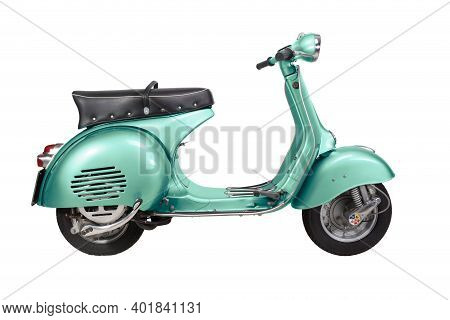 Italy - Vintage Vespa Motorcycle - 1959 - Isolated On White Background - Teal