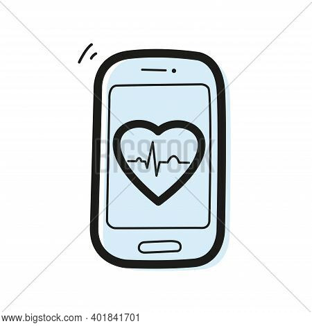 Vector Linear Color Icon In The Form Of A Smartphone With A Heart And An Ecg Graph Inside. Telemedic