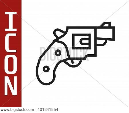 Black Line Small Gun Revolver Icon Isolated On White Background. Pocket Pistol For Self-defense. Lad