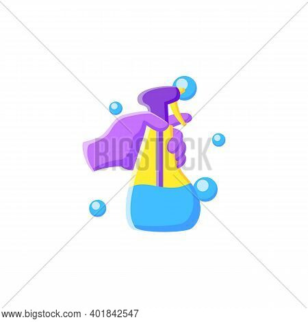 Cleaning Sprayer Flat Icon. Detergent, Cleanser, Sanitizer. Housekeeper Hand With Bottle Pictogram.