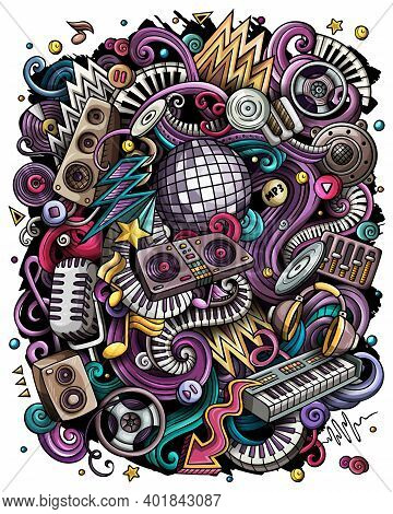 Cartoon Raster Doodles Disco Music Illustration. Colorful, Detailed, With Lots Of Objects Background