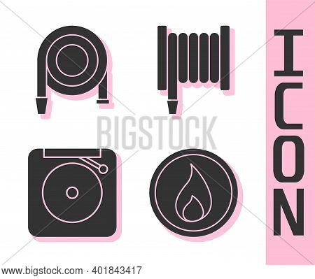 Set Fire Flame, Fire Hose Reel, Ringing Alarm Bell And Fire Hose Reel Icon. Vector
