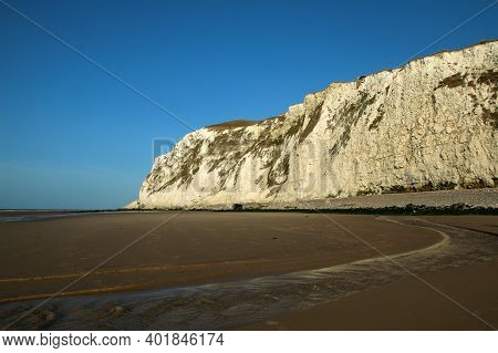 The Beaches Under The High White  Cliffs On The Shore Of The Channel At Escalles In France With The