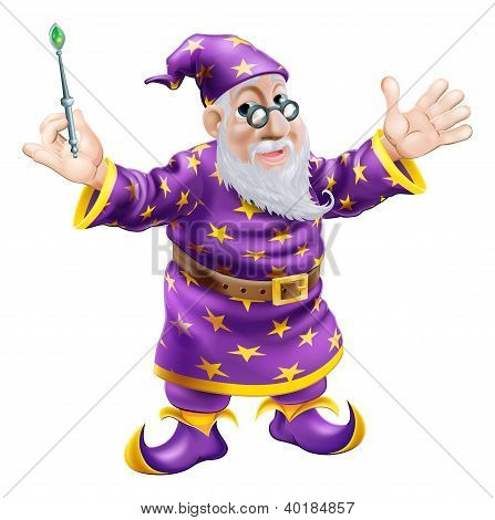 A cartoon cute friendly old wizard character holding a wand poster