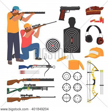 Shooting Club And Range Weapons And Accessories, Flat Vector Isolated Illustration. Shooting Sport.