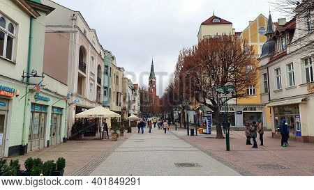 Sopot, Poland - January 3, 2021: The Main Street Heroes Of Monte Cassino In Sopot, Poland