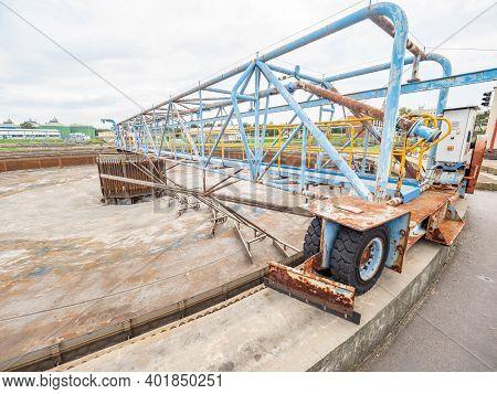 Empty Sewage Metal Tank Before Maintenance. Wastewater Treatment Plant. Sediment And Filter Equipmen